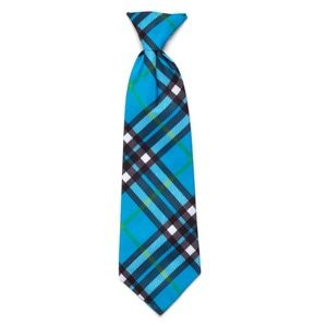 The Worthy Dog Bias Plaid Blue Dog Neck Tie